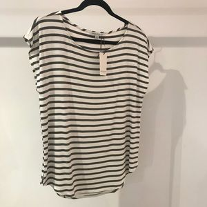 NWT ivory and charcoal Heathered comfy knit top